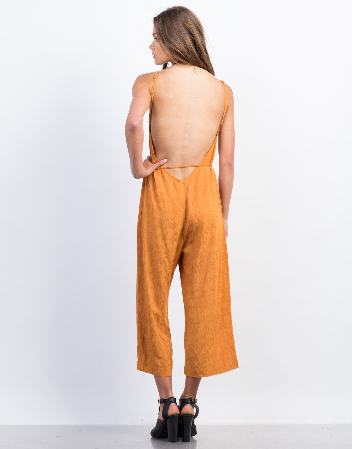 Back View of Waist Tie Printed Culotte Jumpsuit