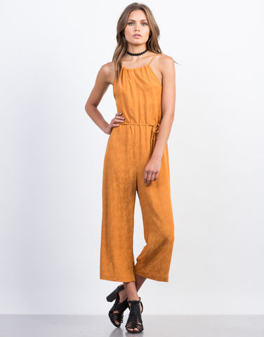Front View of Waist Tie Printed Culotte Jumpsuit