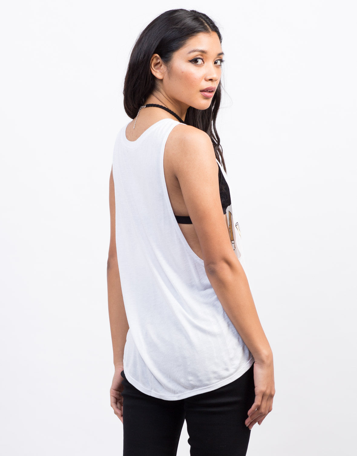 Back View of Wander Lust Graphic Tank