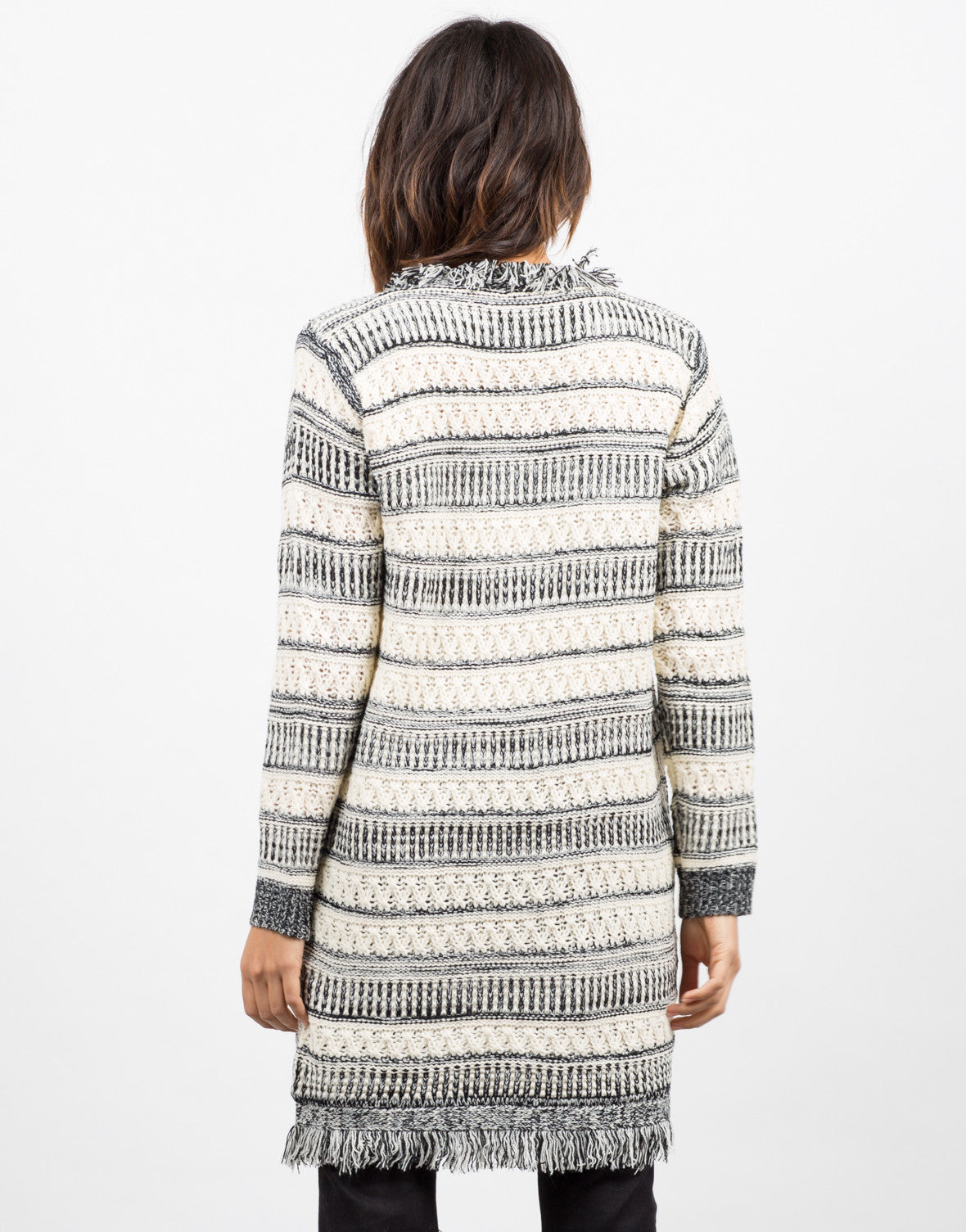 Back View of Wanderer Knit Cardigan