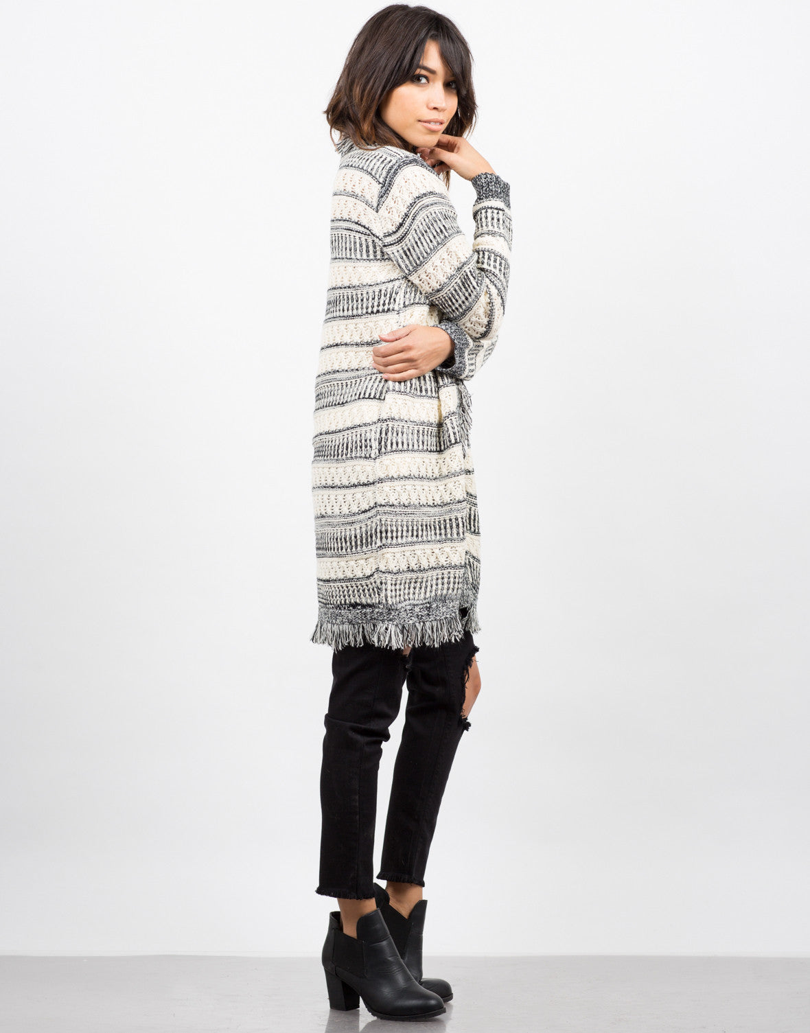 Side View of Wanderer Knit Cardigan