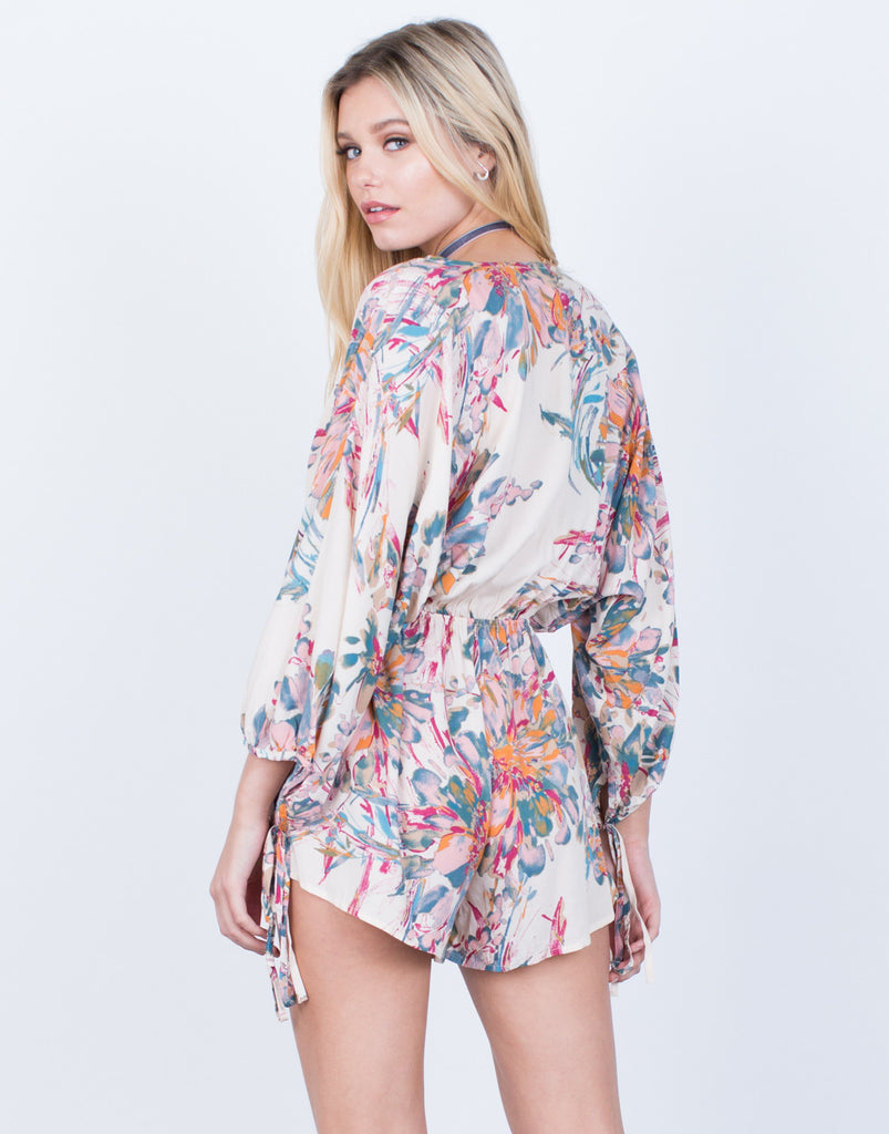 Back View of Watercolor Floral Printed Romper