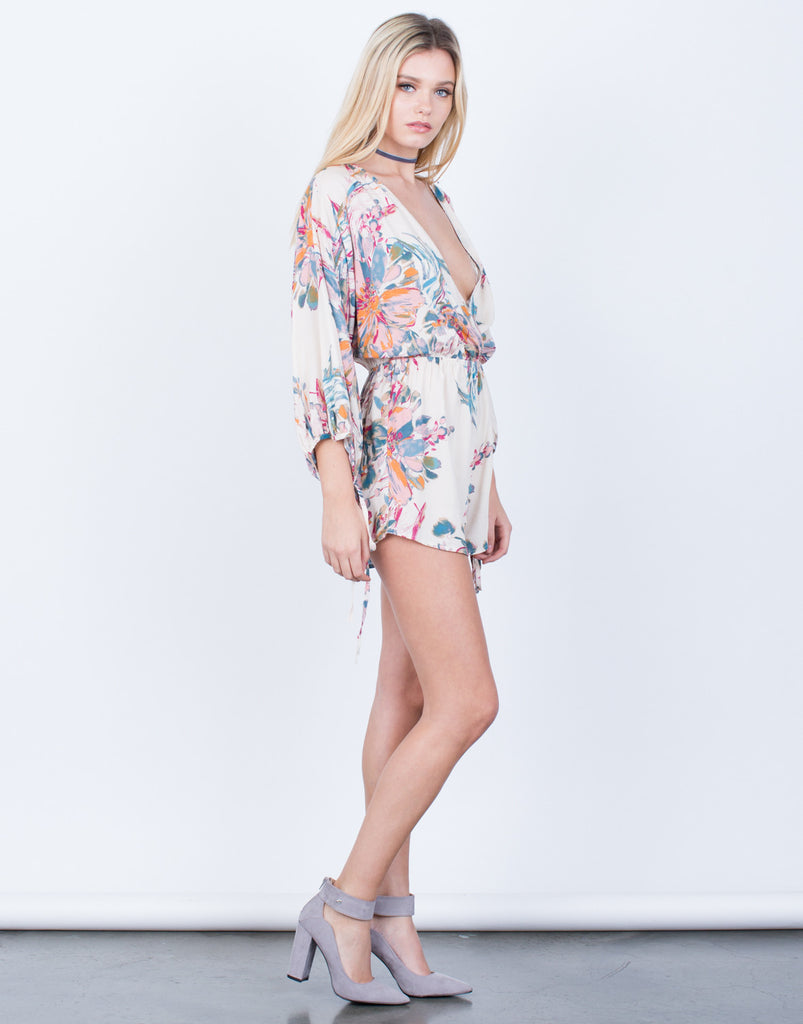 Side View of Watercolor Floral Printed Romper