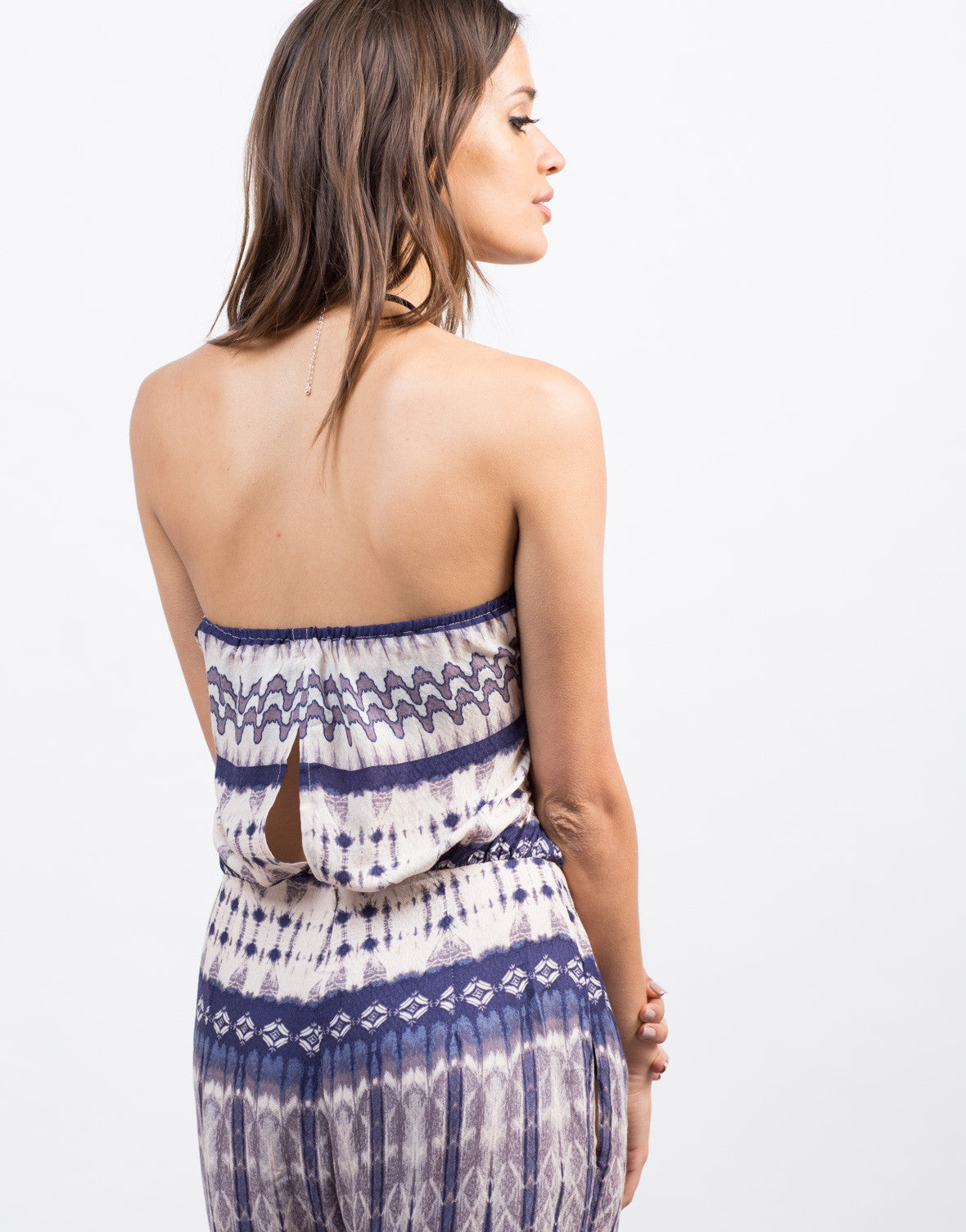 Detail of Watercolor Printed Boho Jumpsuit