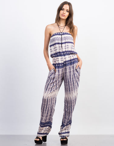 Front View of Watercolor Printed Boho Jumpsuit