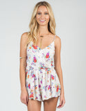 Front View of Watercolor Floral Romper