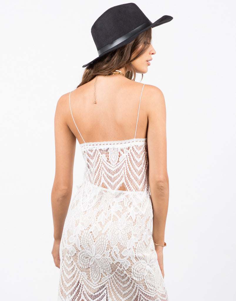 Back View of Wavey Overlay Lace Crop Top