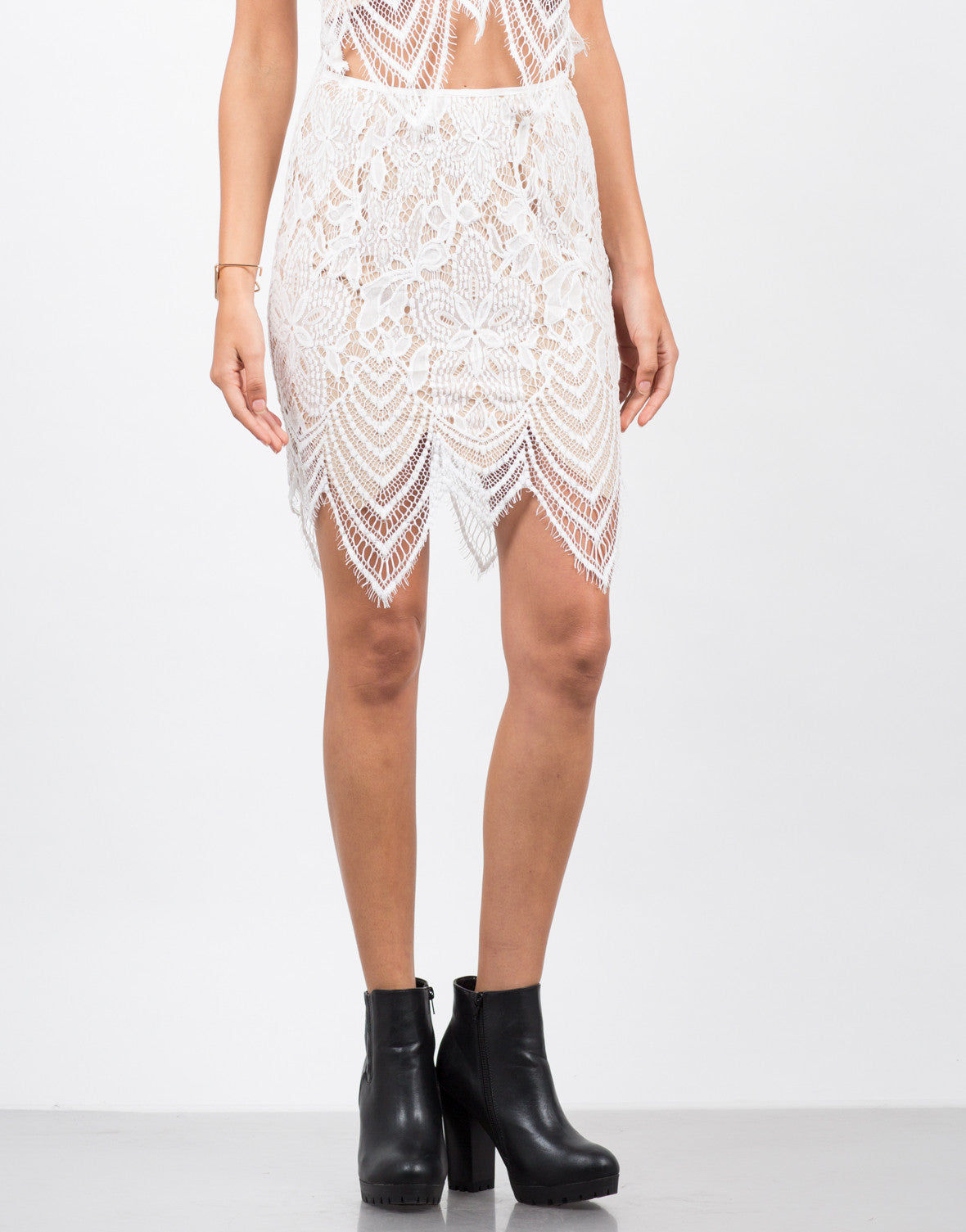 Front View of Wavey Overlay Lace Skirt