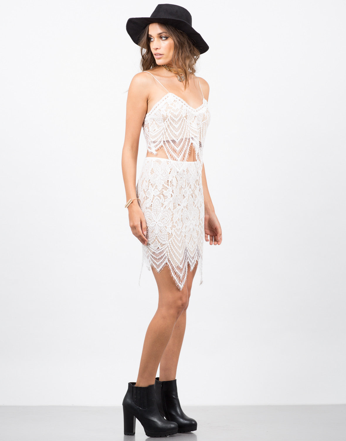 Side View of Wavey Overlay Lace Skirt
