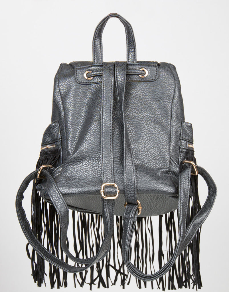 Back View of Western Faux Fringe Backpack