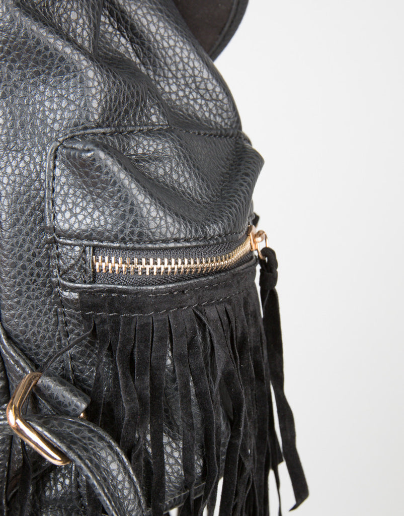 Detail of Western Faux Fringe Backpack