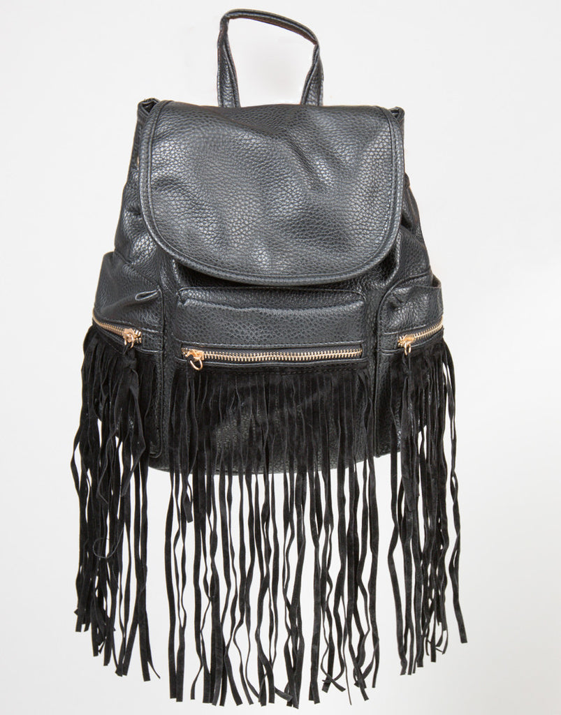 Front View of Western Faux Fringe Backpack