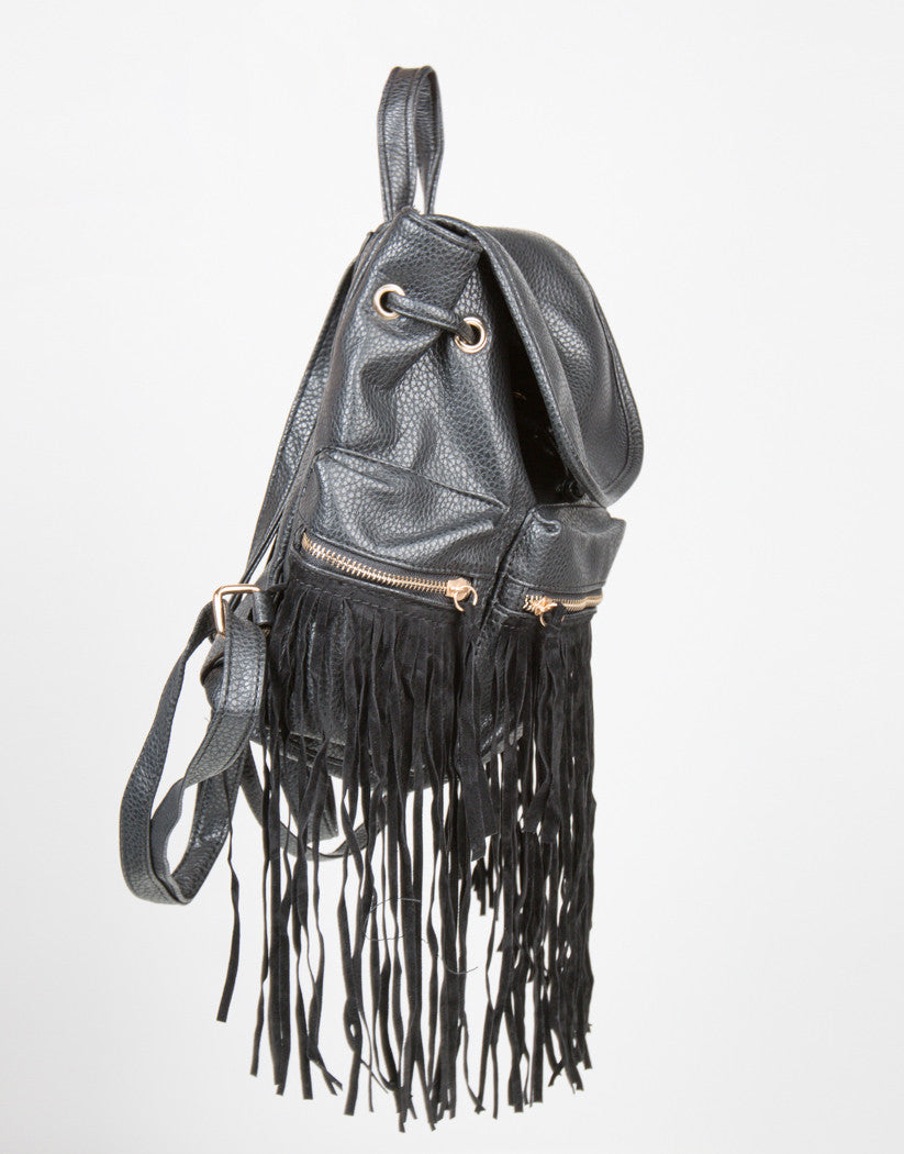 Side View of Western Faux Fringe Backpack