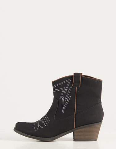 Western Stitched Ankle Boots - Black