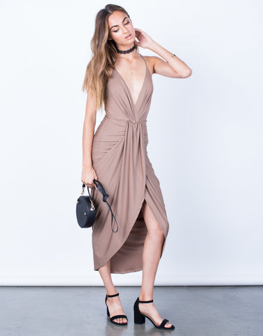 Front View of When Night Falls Midi Dress