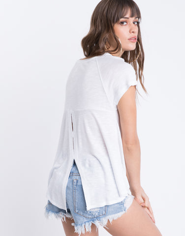 White Back Slit Tee