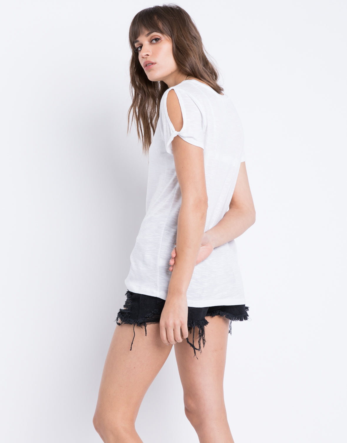 White Cold Shoulder Tee