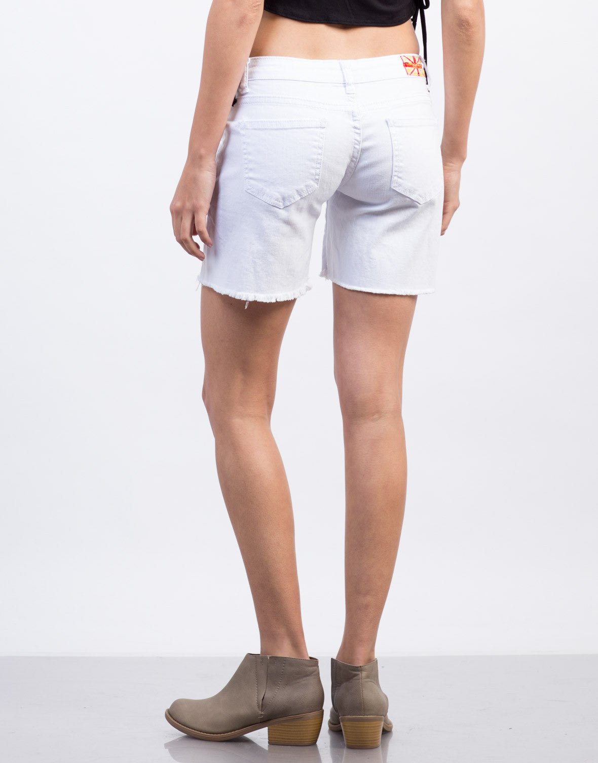 Back View of White Destroyed Bermuda Shorts