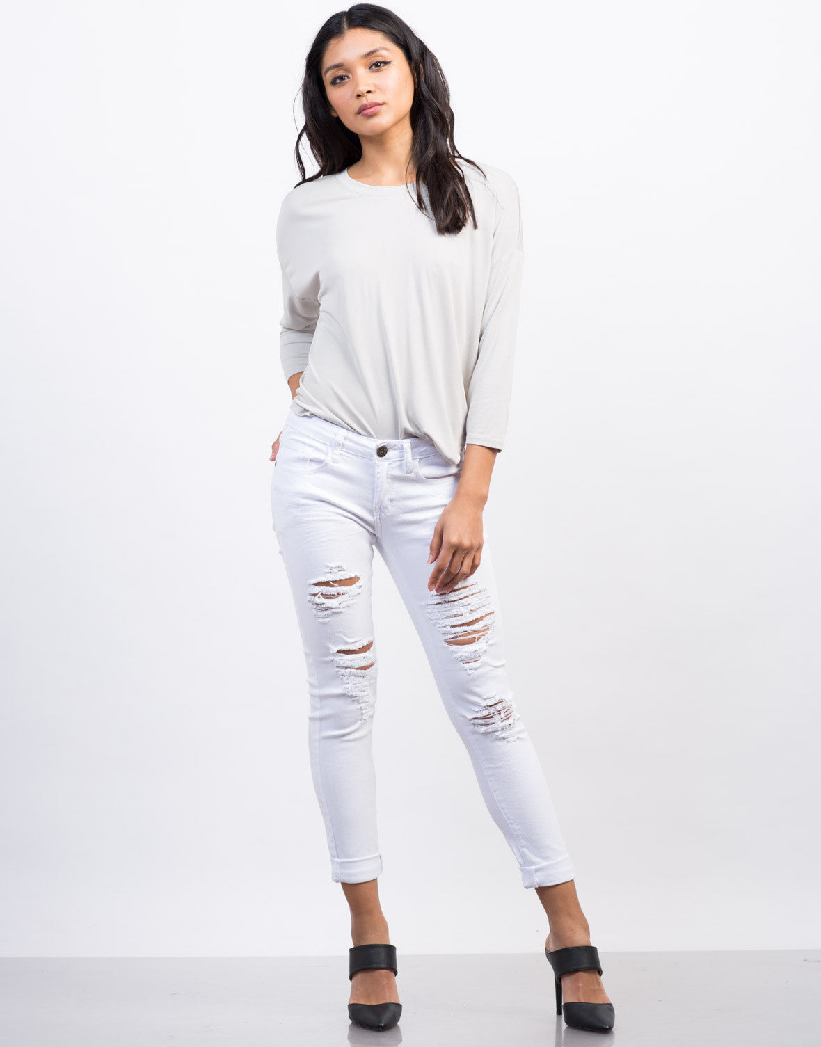 Front View of White Destroyed Skinny Jeans