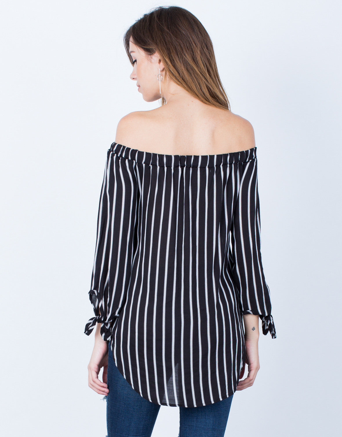 Back View of White Lines Off-the-Shoulder Top
