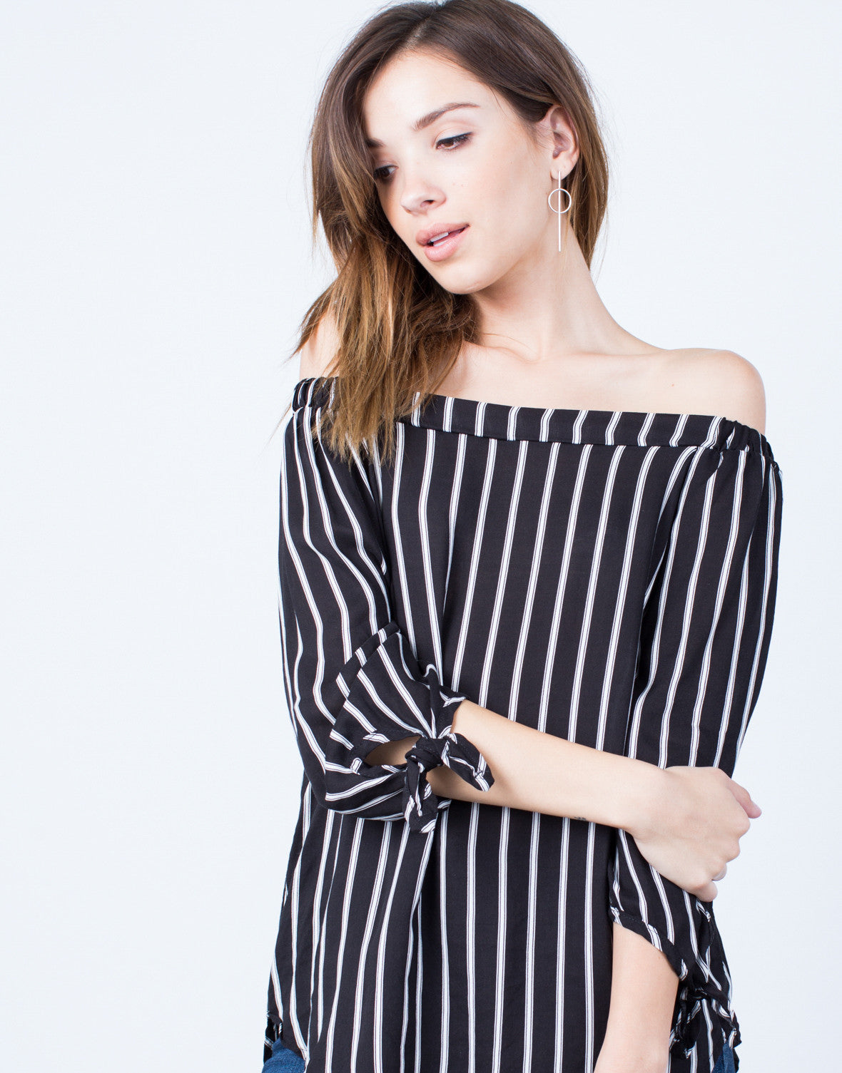 Detail of White Lines Off-the-Shoulder Top