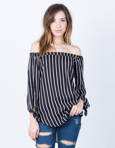 Front View of White Lines Off-the-Shoulder Top