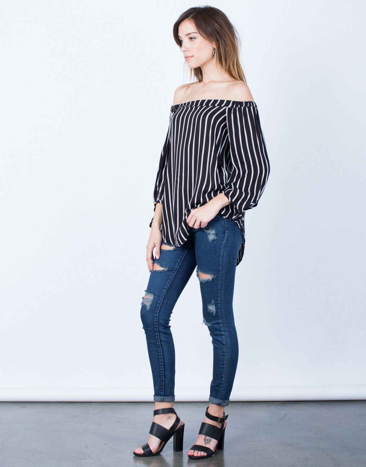 Side View of White Lines Off-the-Shoulder Top