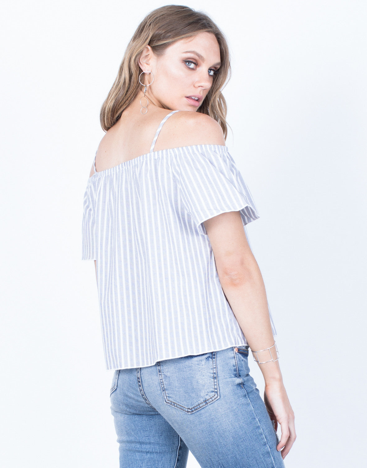Back View of White Lines Striped Top