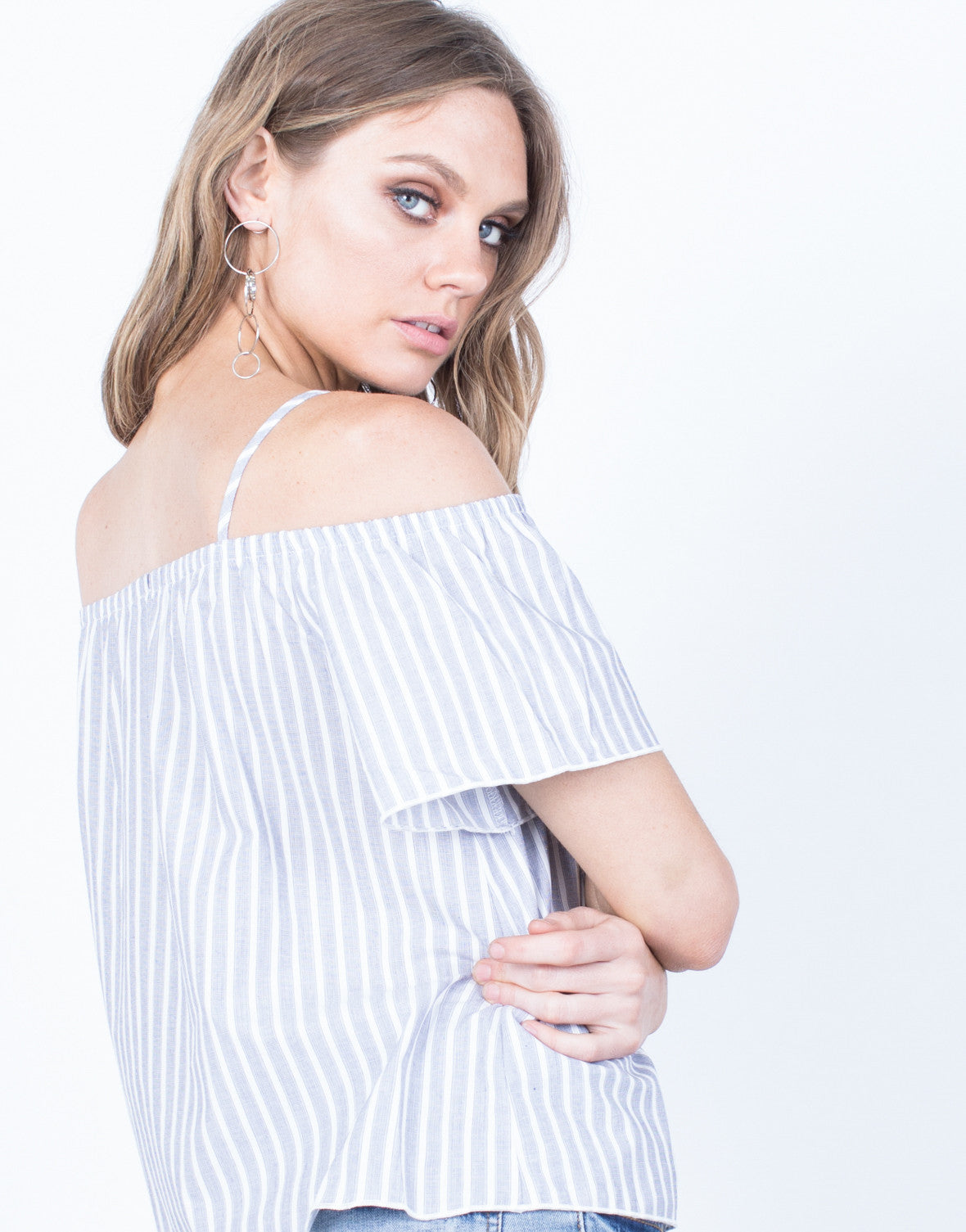 Detail of White Lines Striped Top