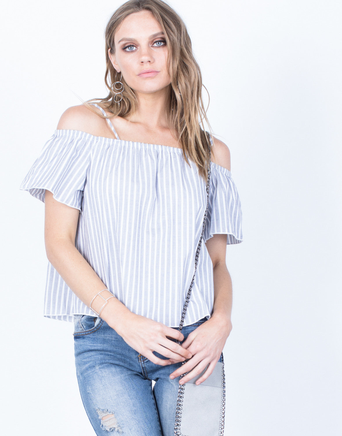 Front View of White Lines Striped Top