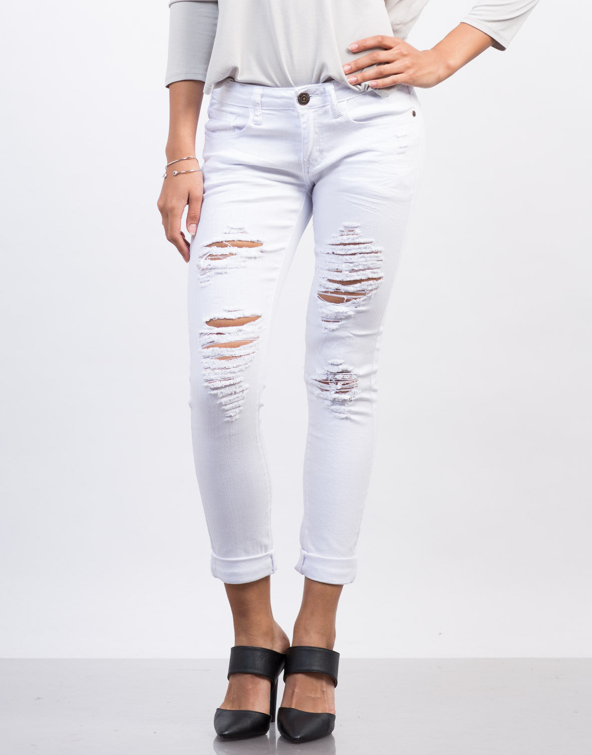 Front View of White Mid-Rise Destroyed Jeans