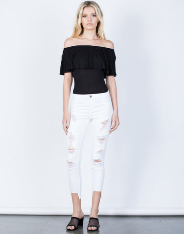 Front View of White Out Cropped Jeans