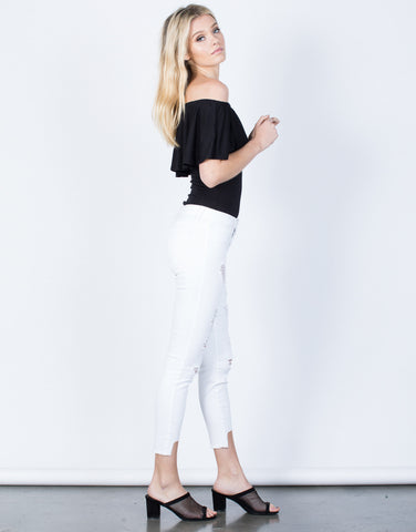 Side View of White Out Cropped Jeans