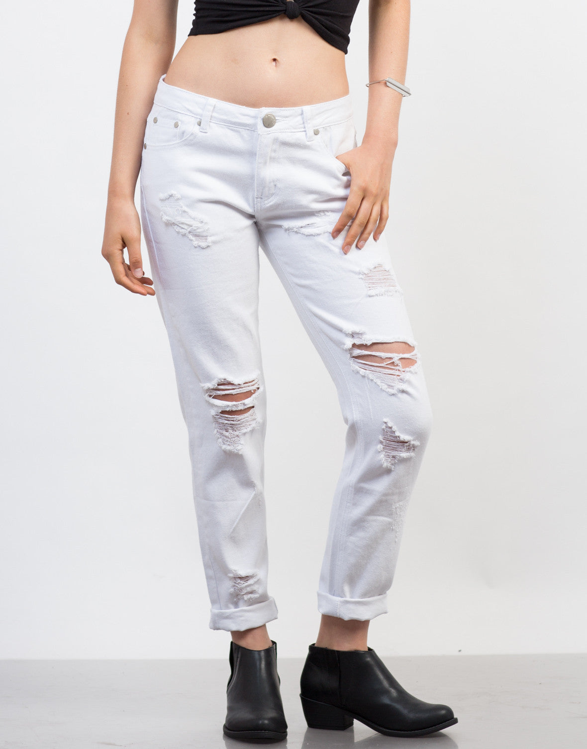 Front View of White Ripped Boyfriend Jeans