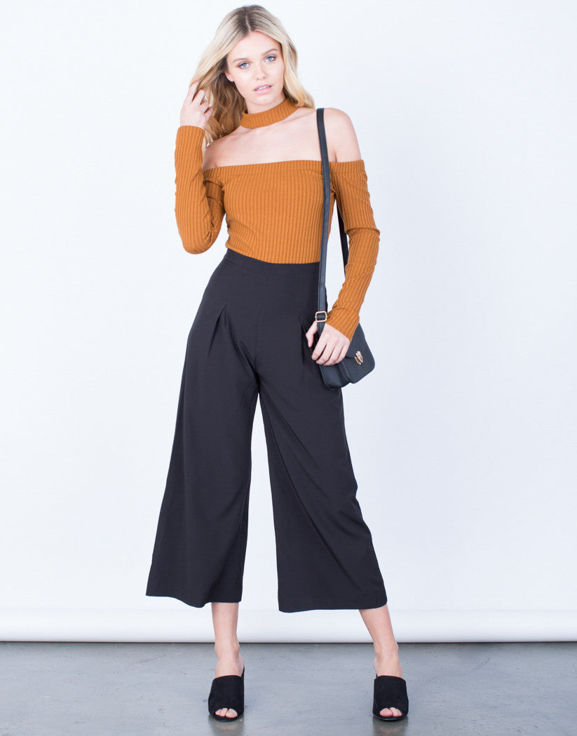 Front View of Wide Leg Culottes