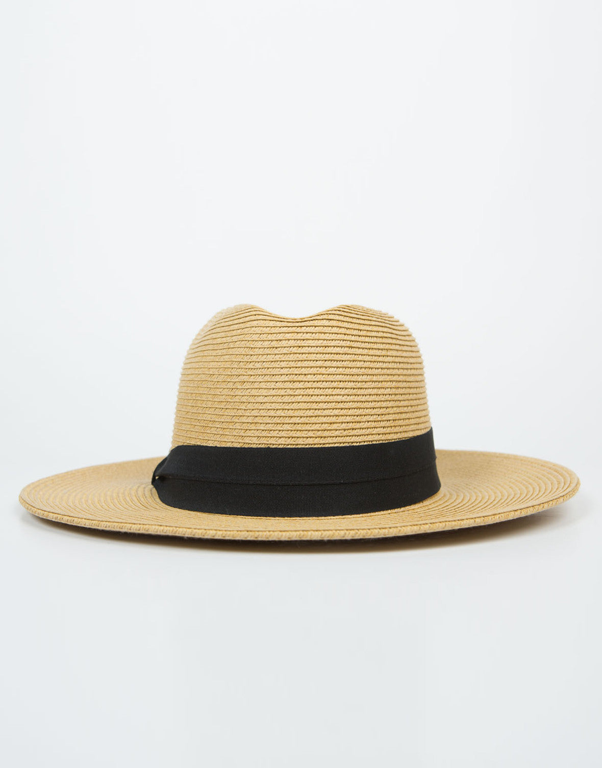 Front View of Wide Brim Straw Hat