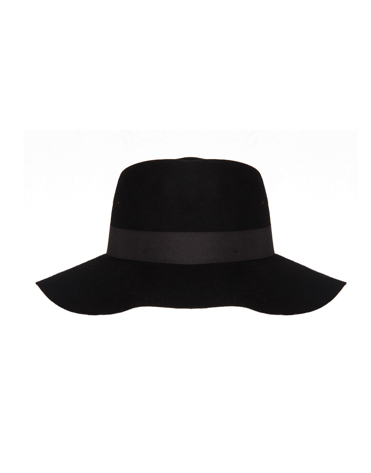 Wide Brim Wool Hat - Black