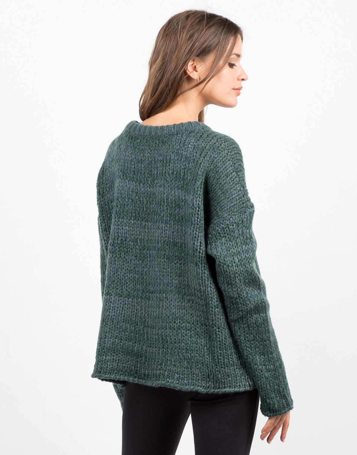Side View of Wide Chunky Knit Sweater