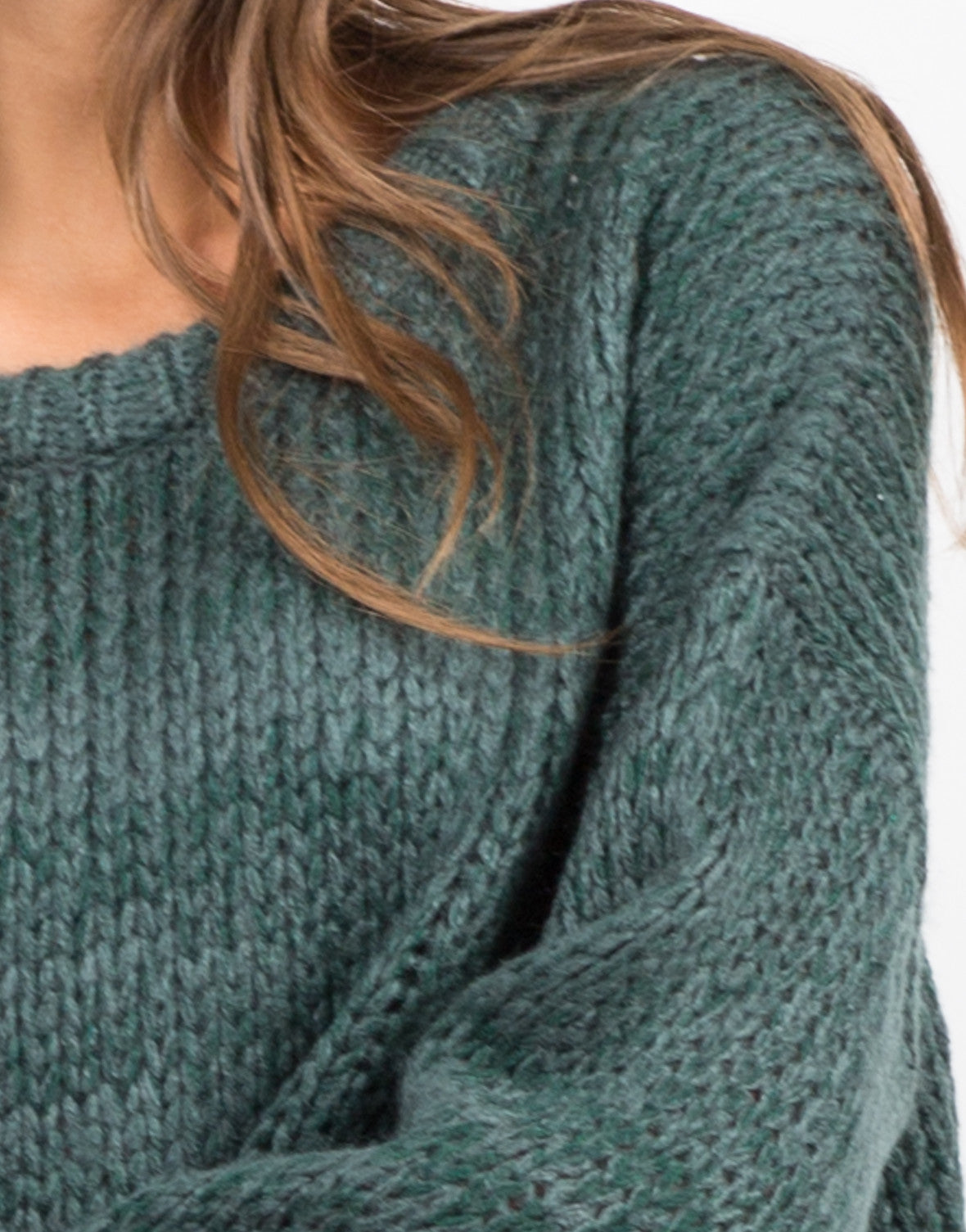 Detail of Wide Chunky Knit Sweater