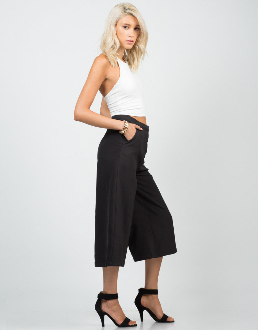 Side View of Wide Culotte Pants
