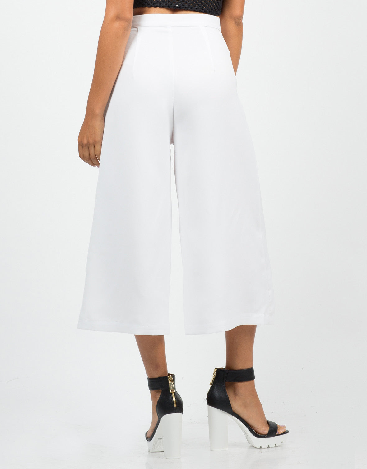 Back View of Wide Culotte Pants