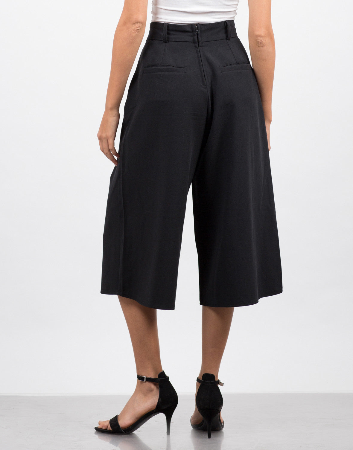 Back View of Wide Leg Culotte Pants