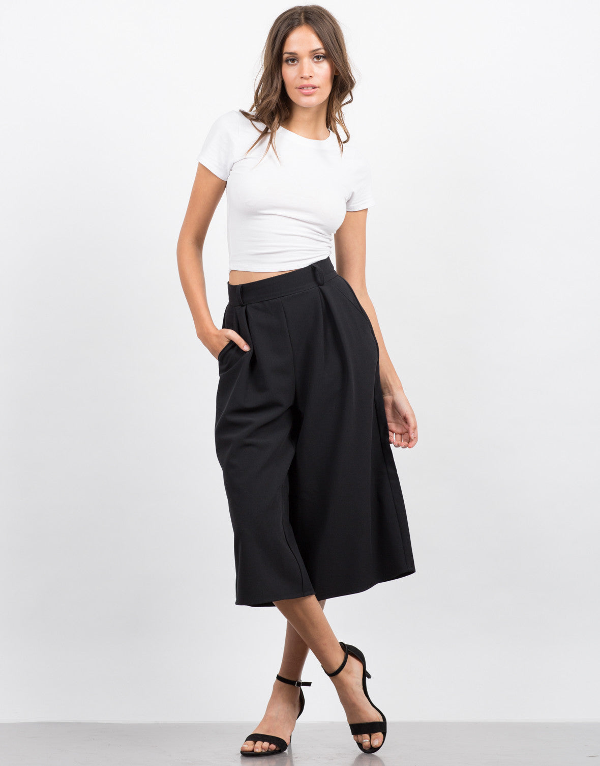 Front View of Wide Leg Culotte Pants