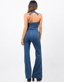Back View of Wide Leg Denim Jumpsuit