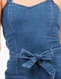Detail of Wide Leg Denim Jumpsuit