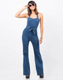 Front View of Wide Leg Denim Jumpsuit