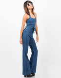 Side View of Wide Leg Denim Jumpsuit
