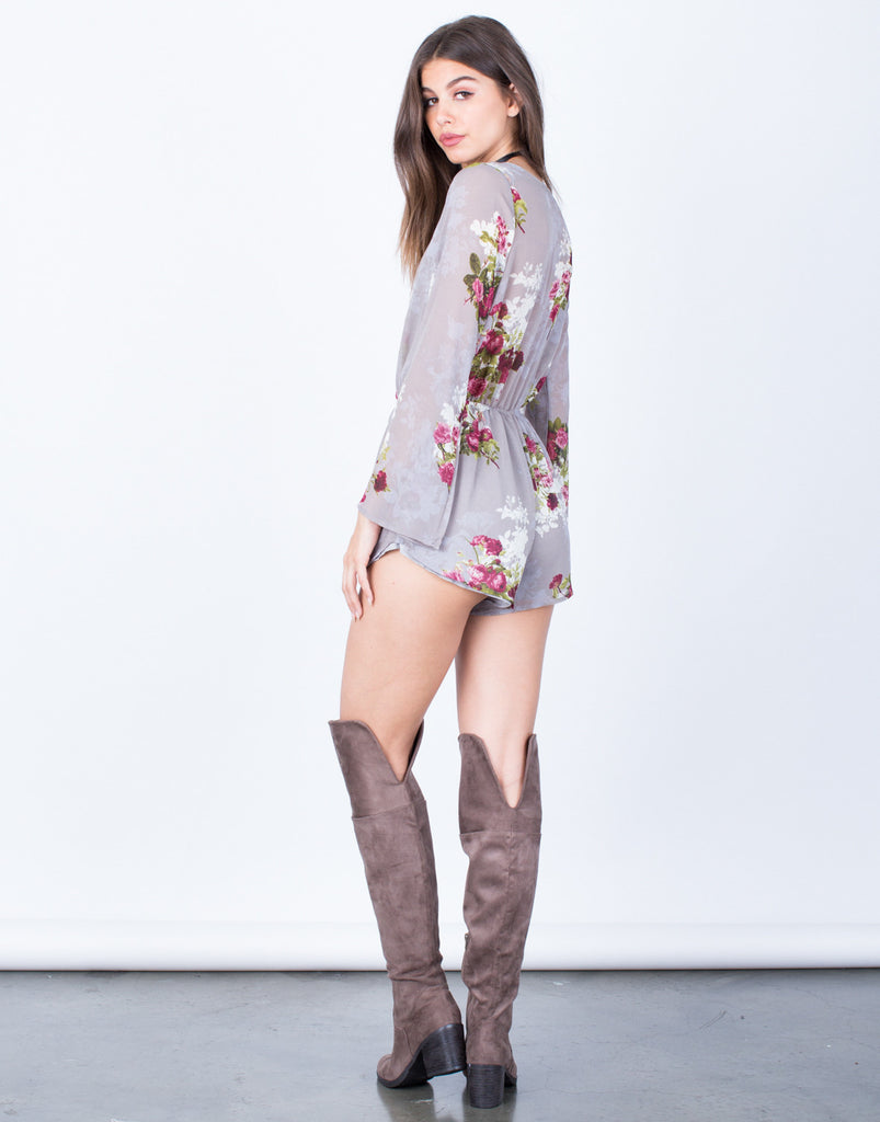 Back View of Winter Bloom Romper
