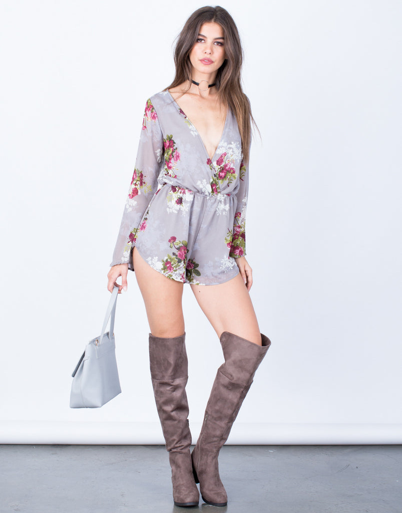 Front View of Winter Bloom Romper
