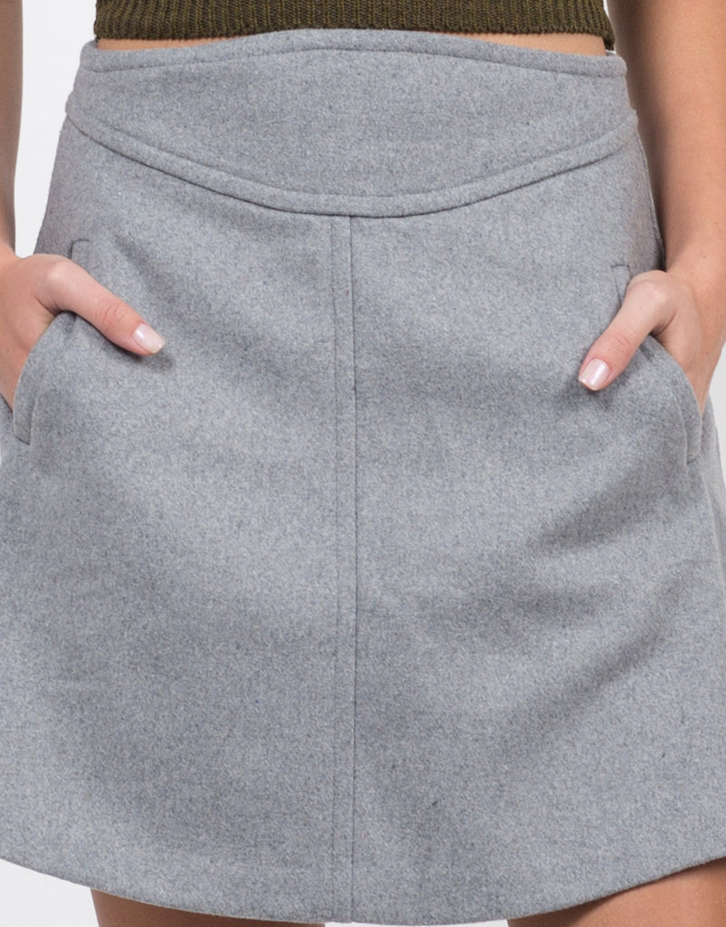 Detail of Wool A-Line Mini Skirt